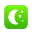 moon and stars icon digital green vector image