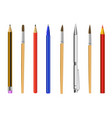 pencil pen brush isolated on white background vector image vector image