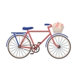 Pink bicycle with basket icon in cartoon style vector image