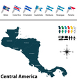 Political map of Central America with flags