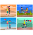 romantic cute couple in love dating set vector image vector image