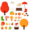 set of autumn fall elements or symbols vector image vector image
