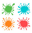 set of four multicolored hand drawn paint splashes vector image vector image