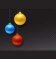 set of realistic hanging christmas balls vector image