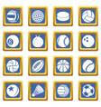 sport balls icons set blue square vector image