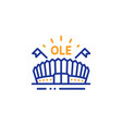 sports arena line icon stadium with flags sign vector image vector image