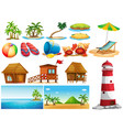 summer theme with ocean and buildings vector image vector image