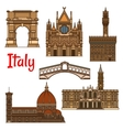 Symbolic travel landmarks of Italy thin line icon vector image vector image