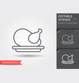 thanksgiving turkey line icon with editable vector image