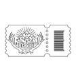 ticket with barcode and tent vector image vector image