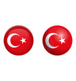 turkey flag under 3d dome button and on glossy vector image vector image