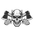 vintage monochrome demon skull with horns vector image vector image