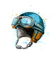 vintage motorcycle classic helmet with goggles vector image