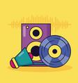 vinyl speaker megaphone music colorful background vector image vector image