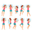 woman sleeps in different poses healthy night vector image vector image