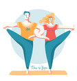 yoga time woman and man doing yoga together vector image