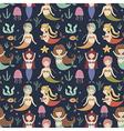 Cute mermaids seamless pattern vector image
