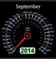 2014 year calendar speedometer car in September vector image vector image