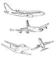 Aircraft Pencil sketch by hand vector image vector image