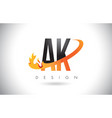 ak a k letter logo with fire flames design and vector image vector image