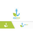 anchor and leaf logo combination marine vector image vector image