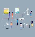 art gallery visitors people in museum exhibition vector image vector image