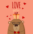 bear with present postcard love you vector image vector image