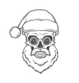 Bearded Skull Santa Claus with glasses poster vector image vector image