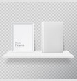 blank frame and white book on shelf vector image vector image