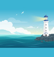 blue sea background with lighthouse and mountains vector image vector image