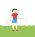 Boy with a rope fun jumping on the green lawn vector image vector image
