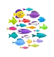 Cartoon fish collection background vector image vector image