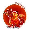 Cartoon red dragon closeup vector image