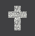 christian cross with abstract pebble texture vector image