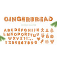 christmas cartoon big set gingerbread alphabet vector image