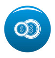 coin icon blue vector image vector image