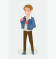 cool flat character design on millennial boy vector image