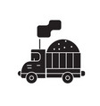 costruction sand truck black concept icon vector image vector image