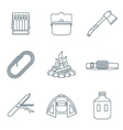 dark colored outline various camping icons vector image vector image