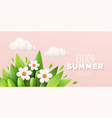enjoy summer 3d realistic background with clouds vector image