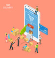 fast delivery flat isometric concept vector image vector image