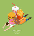 fast food harmful effects junk food danger vector image vector image