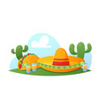 fiesta mexican party sombrero hat tequila vector image