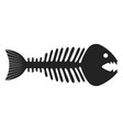 fish skeleton icon black fishbone and drawing vector image vector image