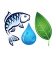 fish water drop and green leaf vector image