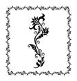 floral frame black ornament vector image vector image