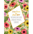 floral frame wedding invitation card greeting vector image vector image