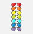 glasses set with rainbow lenses sunglasses icon vector image