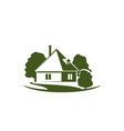 green trees and house garden icon vector image vector image