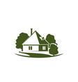 green trees and house garden icon vector image